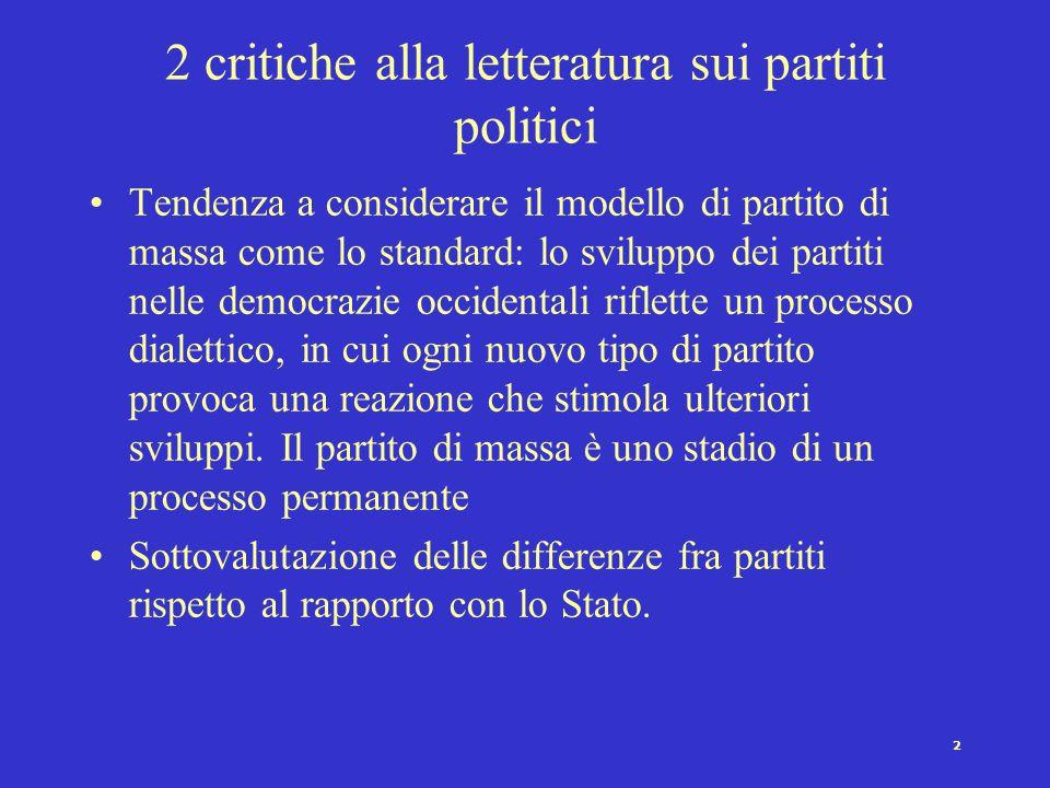 2 critiche alla letteratura sui partiti politici