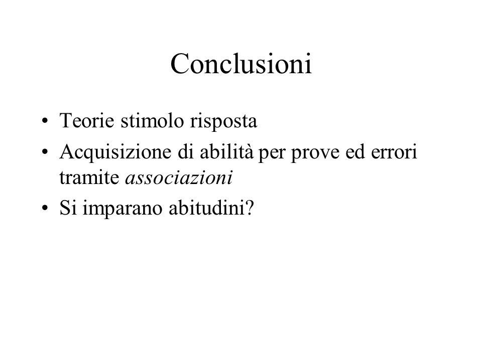 Conclusioni Teorie stimolo risposta