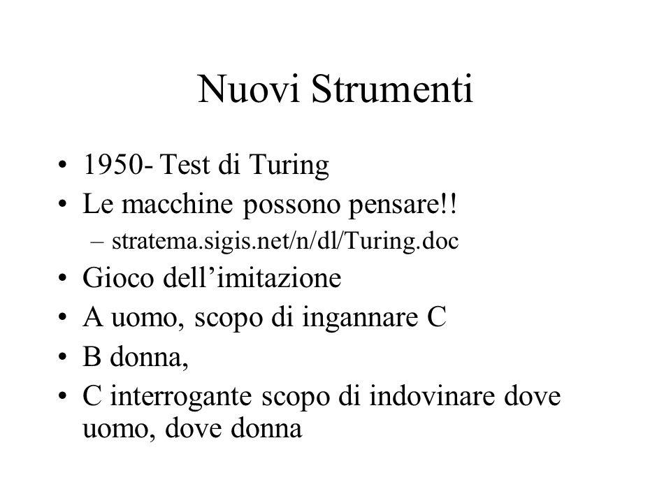 Nuovi Strumenti 1950- Test di Turing Le macchine possono pensare!!