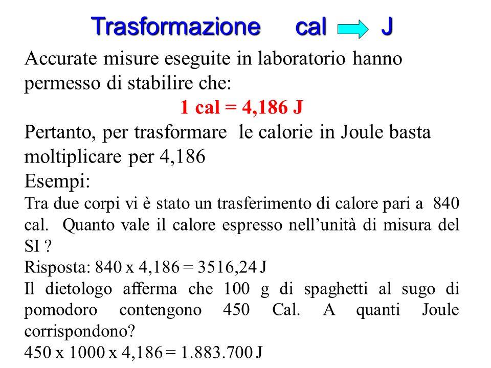 Trasformazione cal J Accurate misure eseguite in laboratorio hanno permesso di stabilire che: