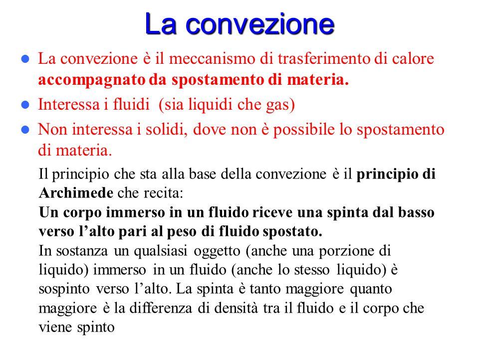 La convezione La convezione è il meccanismo di trasferimento di calore accompagnato da spostamento di materia.