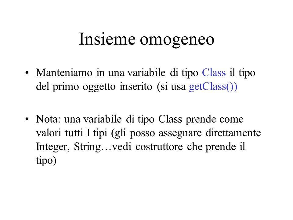 Insieme omogeneo Manteniamo in una variabile di tipo Class il tipo del primo oggetto inserito (si usa getClass())