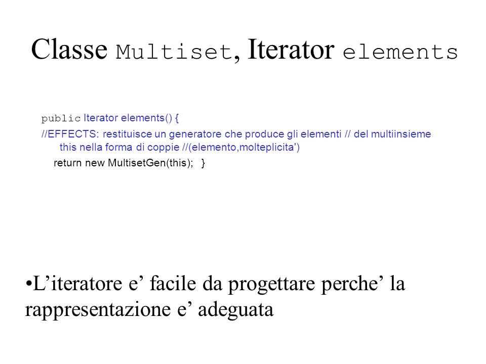Classe Multiset, Iterator elements