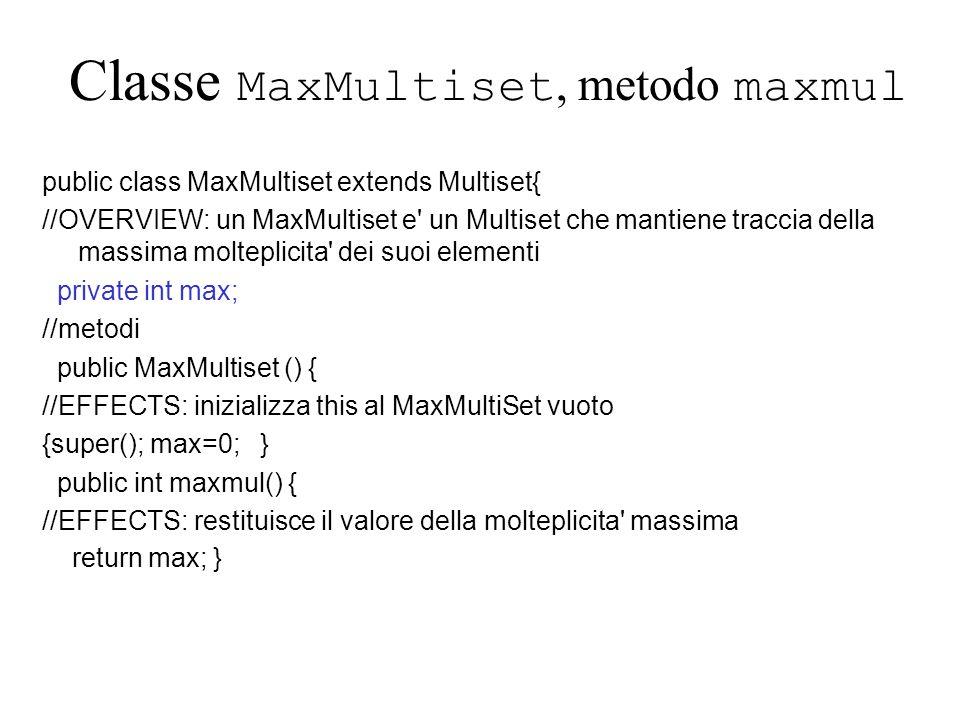 Classe MaxMultiset, metodo maxmul