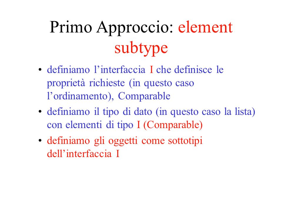 Primo Approccio: element subtype