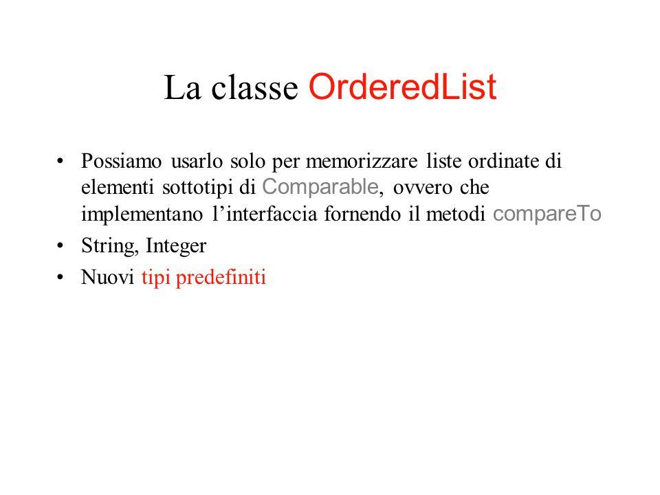 La classe OrderedList