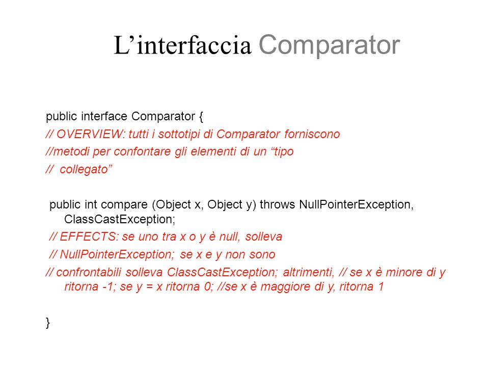 L'interfaccia Comparator
