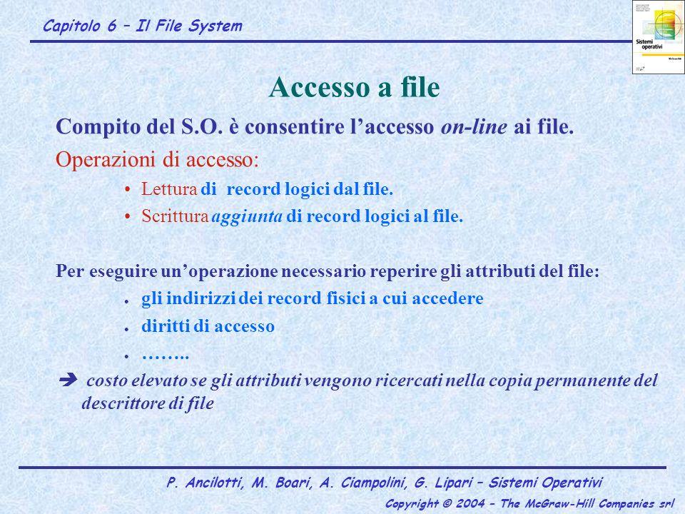 Accesso a file Compito del S.O. è consentire l'accesso on-line ai file. Operazioni di accesso: Lettura di record logici dal file.