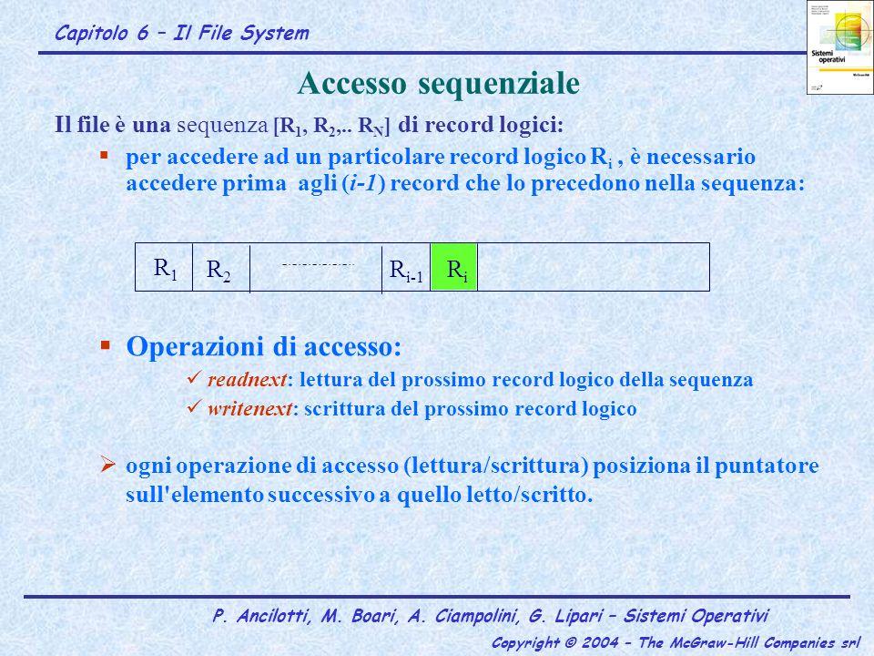 Accesso sequenziale Operazioni di accesso: