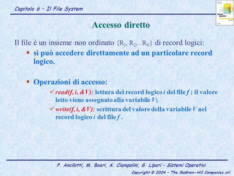 Accesso diretto Il file è un insieme non ordinato {R1, R2,.. RN} di record logici: si può accedere direttamente ad un particolare record logico.