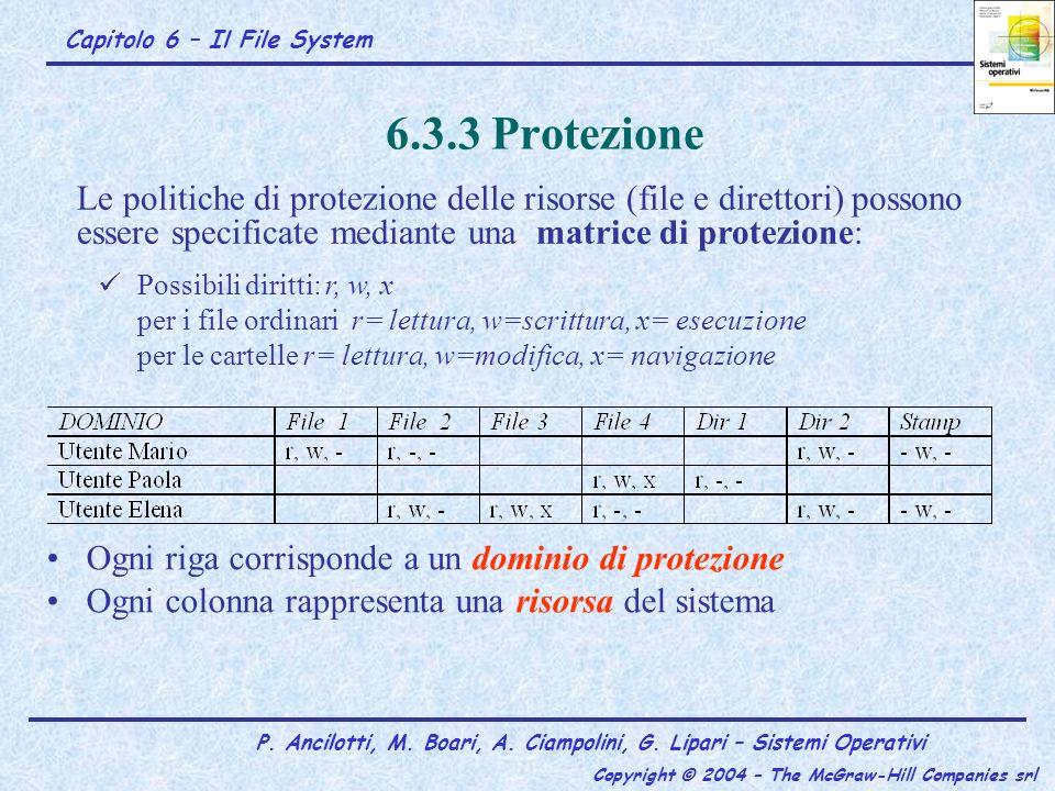 6.3.3 Protezione Ogni riga corrisponde a un dominio di protezione