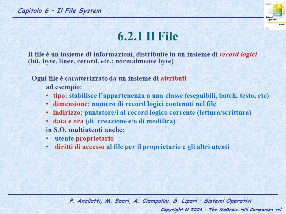 6.2.1 Il File Il file è un insieme di informazioni, distribuite in un insieme di record logici (bit, byte, linee, record, etc.; normalmente byte)