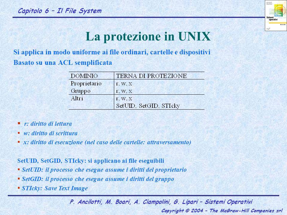 La protezione in UNIX Si applica in modo uniforme ai file ordinari, cartelle e dispositivi. Basato su una ACL semplificata.