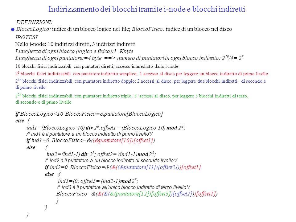 Indirizzamento dei blocchi tramite i-node e blocchi indiretti