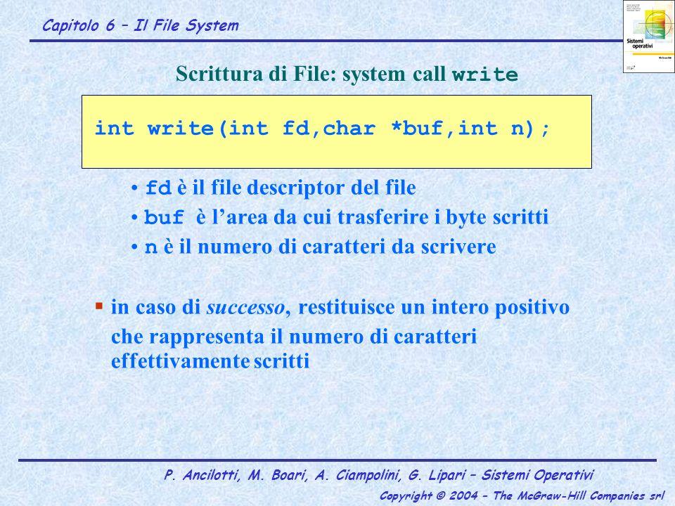 Scrittura di File: system call write