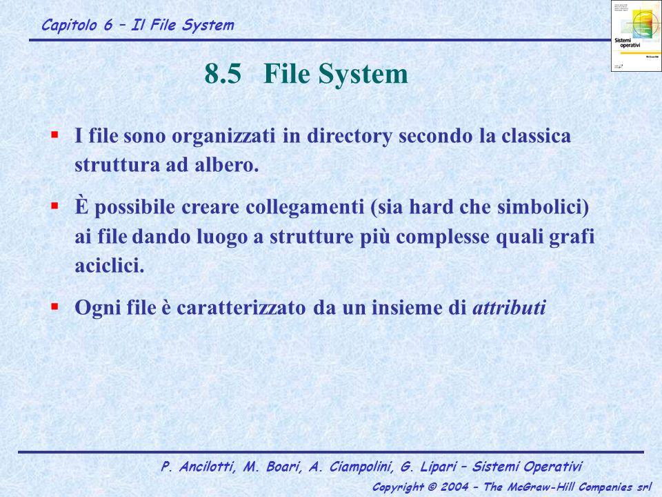 8.5 File System I file sono organizzati in directory secondo la classica struttura ad albero.