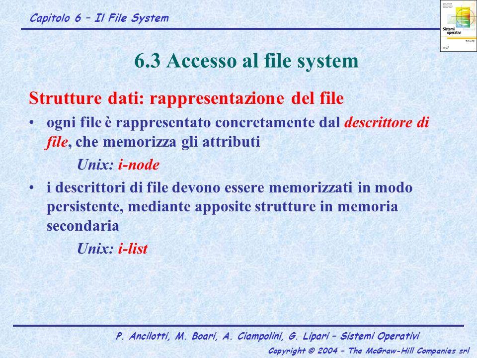 6.3 Accesso al file system Strutture dati: rappresentazione del file