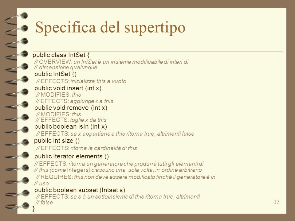 Specifica del supertipo