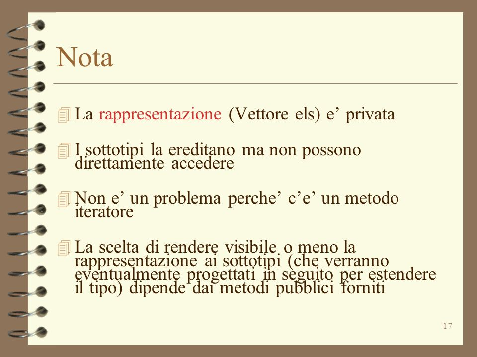 Nota La rappresentazione (Vettore els) e' privata