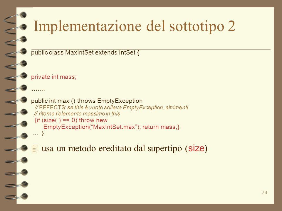 Implementazione del sottotipo 2