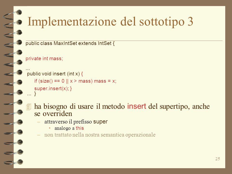 Implementazione del sottotipo 3
