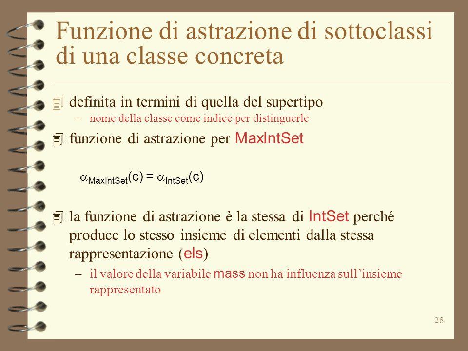 Funzione di astrazione di sottoclassi di una classe concreta