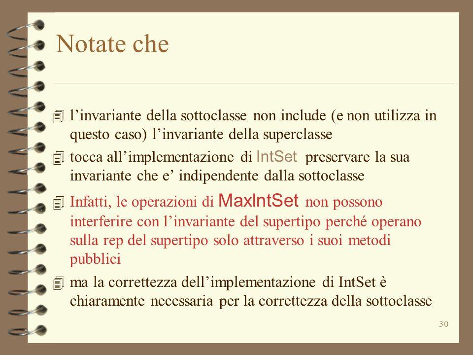 Notate che l'invariante della sottoclasse non include (e non utilizza in questo caso) l'invariante della superclasse.