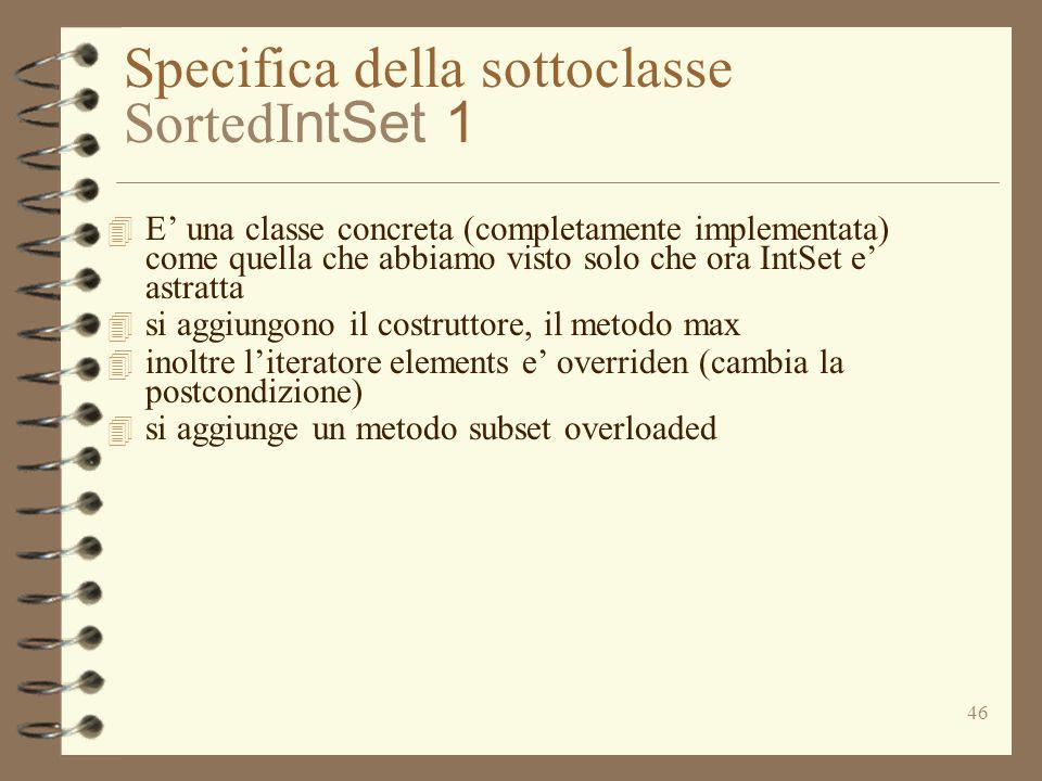 Specifica della sottoclasse SortedIntSet 1