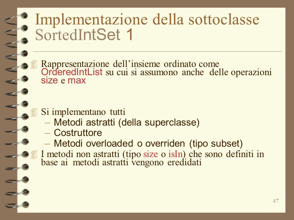 Implementazione della sottoclasse SortedIntSet 1