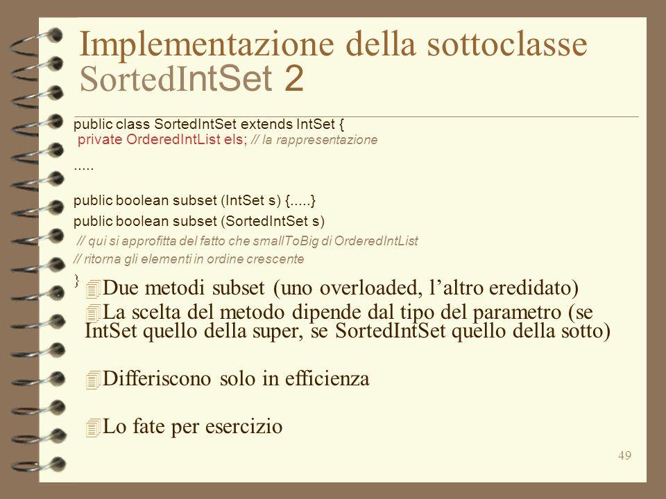 Implementazione della sottoclasse SortedIntSet 2