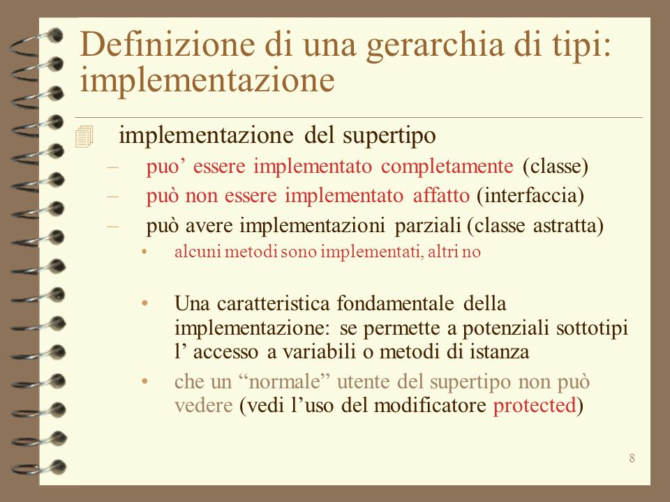 Definizione di una gerarchia di tipi: implementazione