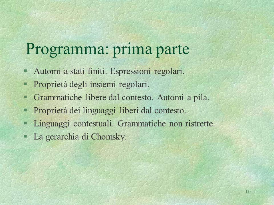 Programma: prima parte