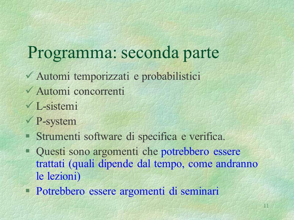 Programma: seconda parte