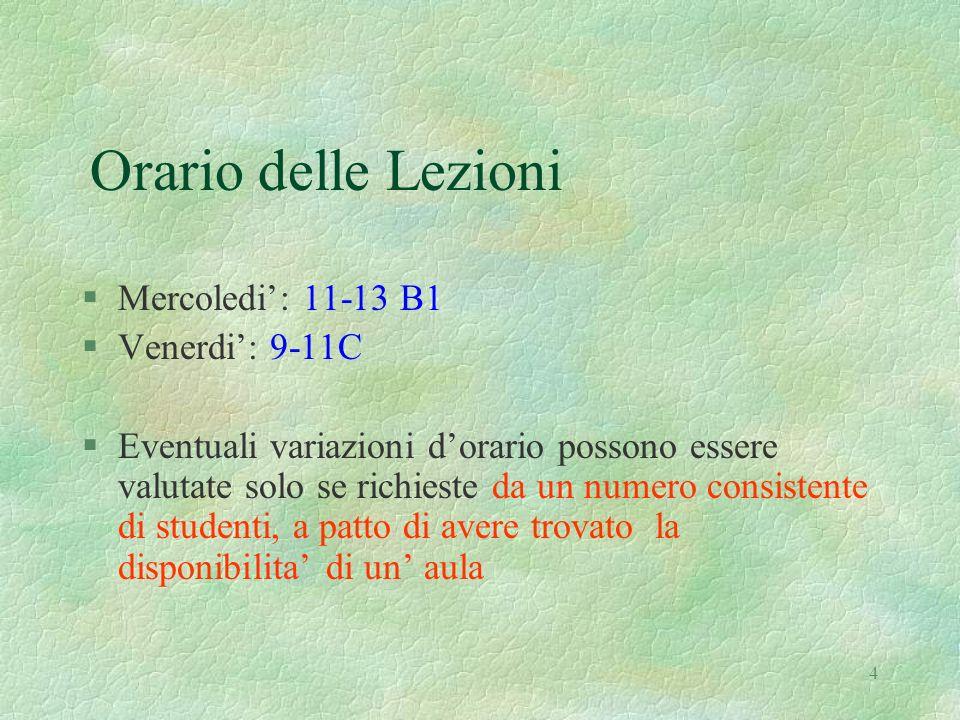 Orario delle Lezioni Mercoledi': 11-13 B1 Venerdi': 9-11C