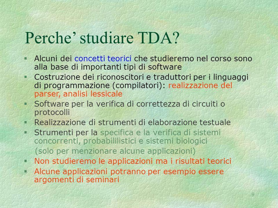 Perche' studiare TDA Alcuni dei concetti teorici che studieremo nel corso sono alla base di importanti tipi di software.