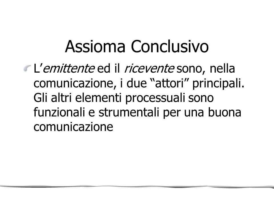 Assioma Conclusivo