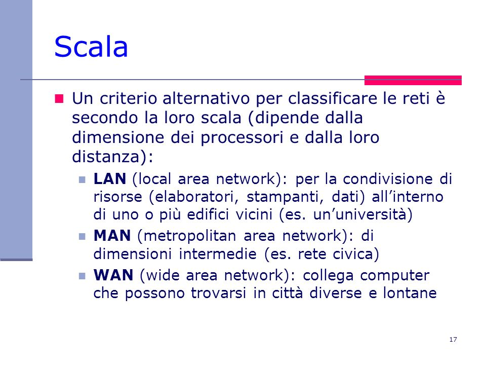 Scala Un criterio alternativo per classificare le reti è secondo la loro scala (dipende dalla dimensione dei processori e dalla loro distanza):