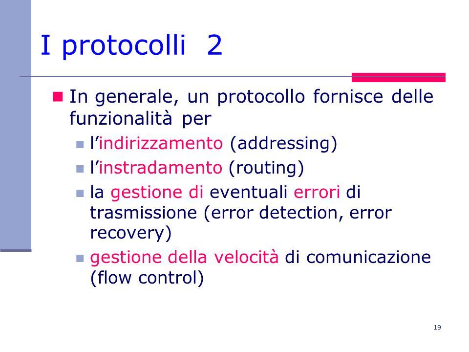 I protocolli 2 In generale, un protocollo fornisce delle funzionalità per. l'indirizzamento (addressing)