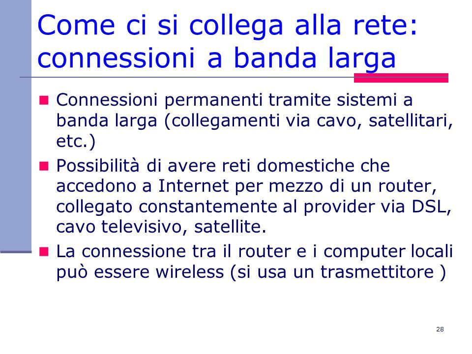 Come ci si collega alla rete: connessioni a banda larga