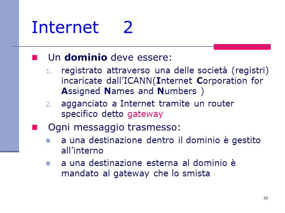 Internet 2 Un dominio deve essere: Ogni messaggio trasmesso:
