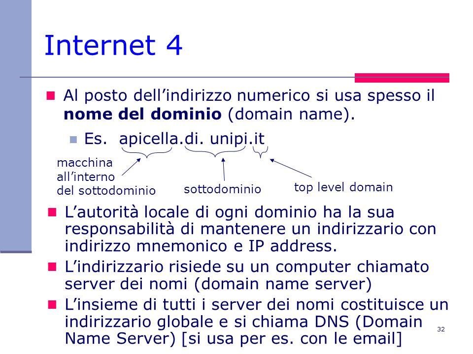 Internet 4 Al posto dell'indirizzo numerico si usa spesso il nome del dominio (domain name). Es. apicella.di. unipi.it.