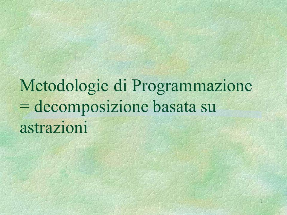 Metodologie di Programmazione = decomposizione basata su astrazioni