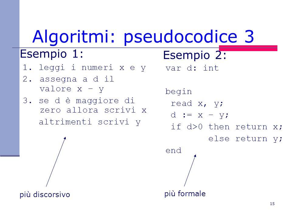 Algoritmi: pseudocodice 3