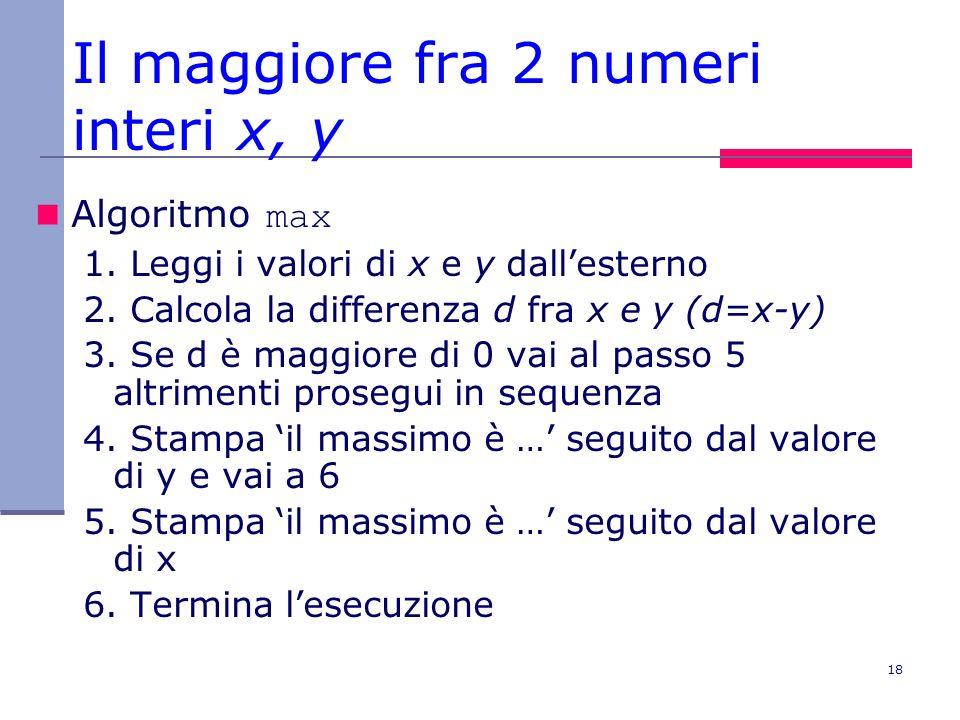 Il maggiore fra 2 numeri interi x, y