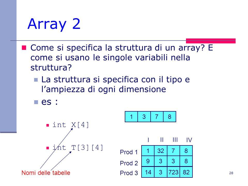 Array 2 Come si specifica la struttura di un array E come si usano le singole variabili nella struttura
