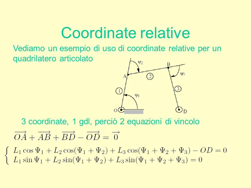 Coordinate relative Vediamo un esempio di uso di coordinate relative per un. quadrilatero articolato.