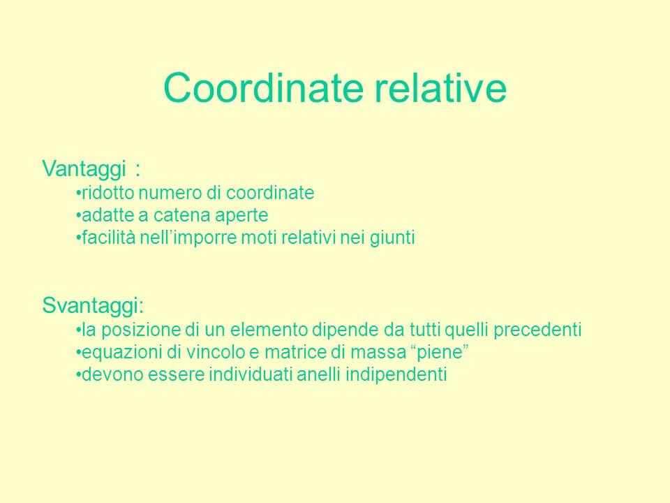Coordinate relative Vantaggi : Svantaggi: ridotto numero di coordinate