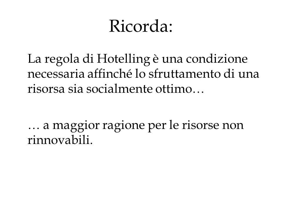 Ricorda: La regola di Hotelling è una condizione necessaria affinché lo sfruttamento di una risorsa sia socialmente ottimo…