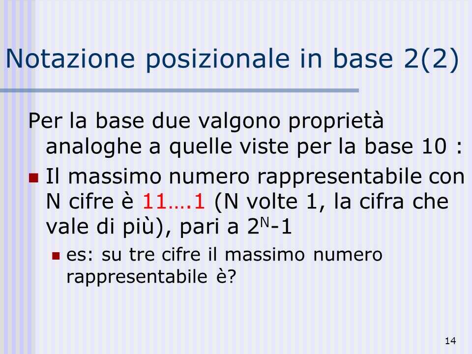 Notazione posizionale in base 2(2)