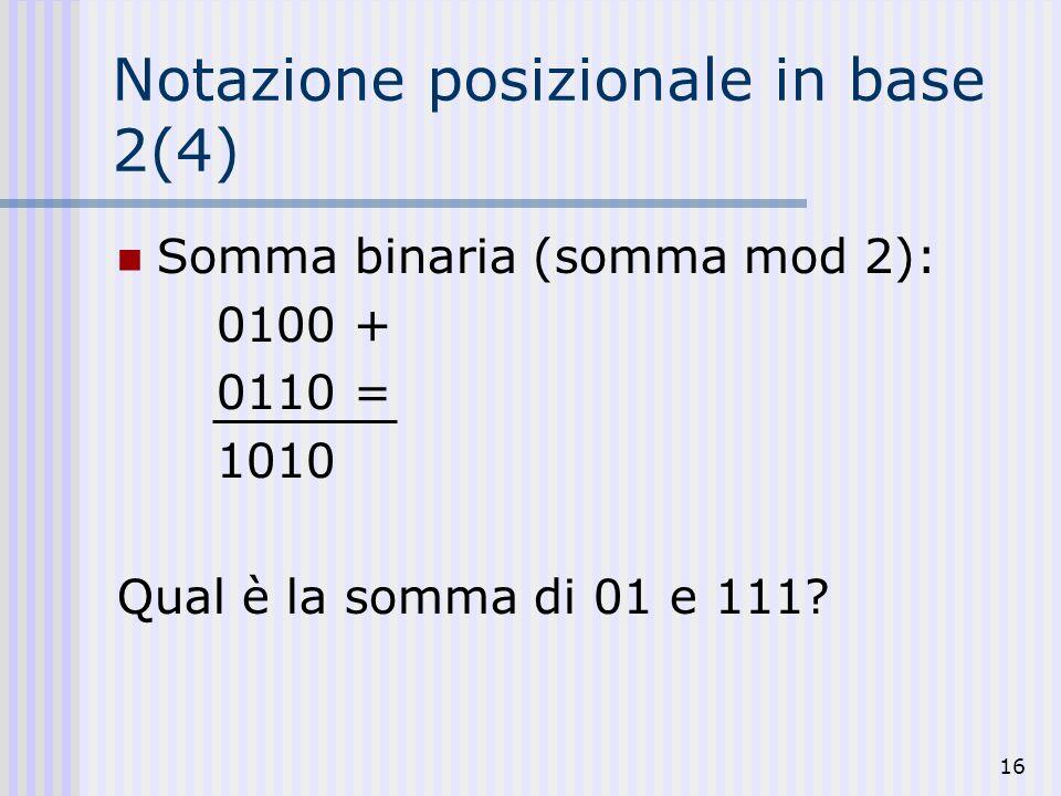 Notazione posizionale in base 2(4)